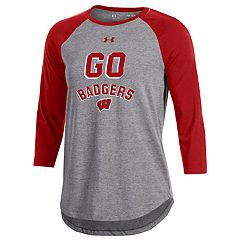 Women's Under Armour Wisconsin Badgers Charged Baseball Tee