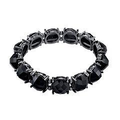 1928 Black Bead Stretch Bracelet