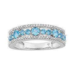 10k White Gold Swiss Blue Topaz & 1/5 Carat T.W. Diamond Ring