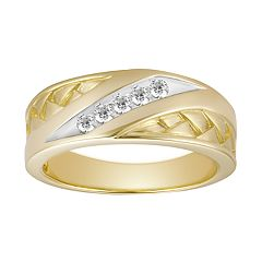 Men's 10k Gold 1/6 Carat T.W. Diamond Channel Ring