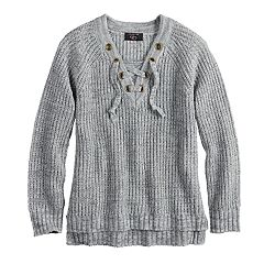Girls 7-16 & Plus Size It's Our Time Lace-Up Sweater