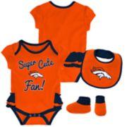 Baby Girl Denver Broncos Mini Trifecta Bodysuit, Bib & Booties Set