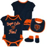 Baby Girl Chicago Bears Mini Trifecta Bodysuit, Bib & Booties Set