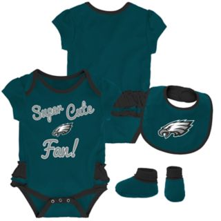Baby Girl Philadelphia Eagles Mini Trifecta Bodysuit, Bib & Booties Set