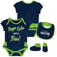 Baby Girl Seattle Seahawks Mini Trifecta Bodysuit, Bib & Booties Set