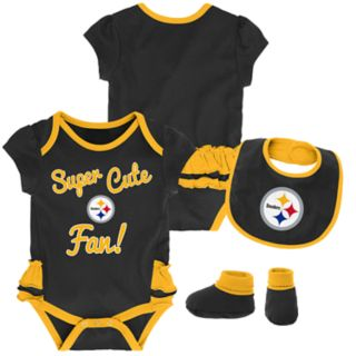 Baby Girl Pittsburgh Steelers Mini Trifecta Bodysuit, Bib & Booties Set