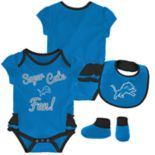 Baby Girl Detroit Lions Mini Trifecta Bodysuit, Bib & Booties Set