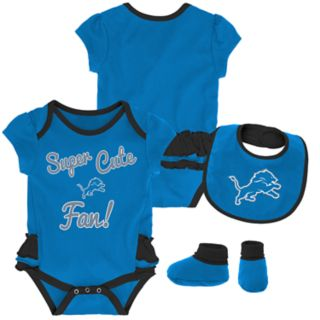 Baby Girl Detroit Lions Mini Trifecta Bodysuit, Bib & Booties Set