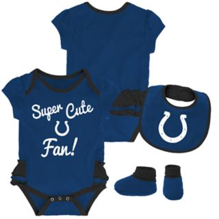 Baby Girl Indianapolis Colts Mini Trifecta Bodysuit, Bib & Booties Set