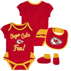Baby Girl Kansas City Chiefs Mini Trifecta Bodysuit, Bib & Booties Set