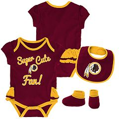 Baby Girl Washington Redskins Mini Trifecta Bodysuit, Bib & Booties Set