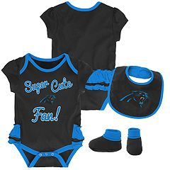 Baby Girl Carolina Panthers Mini Trifecta Bodysuit, Bib & Booties Set