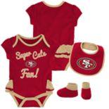 Baby Girl San Francisco 49ers Mini Trifecta Bodysuit, Bib & Booties Set
