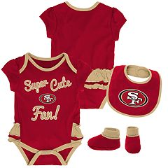 Baby Girl San Francisco 49ers Mini Trifecta Bodysuit, Bib & Booties Set
