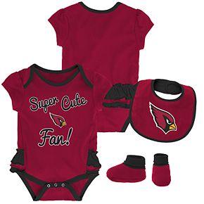 Baby Girl Arizona Cardinals Mini Trifecta Bodysuit, Bib & Booties Set