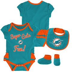 Baby Girl Miami Dolphins Mini Trifecta Bodysuit, Bib & Booties Set