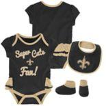 Baby Girl New Orleans Saints Mini Trifecta Bodysuit, Bib & Booties Set