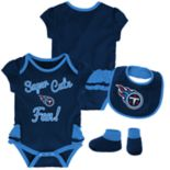 Baby Girl Tennessee Titans Mini Trifecta Bodysuit, Bib & Booties Set