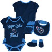Baby Girl Tennessee Titans Mini Trifecta Bodysuit, Bib & Booties Set