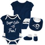 Baby Girl Los Angeles Rams Mini Trifecta Bodysuit, Bib & Booties Set