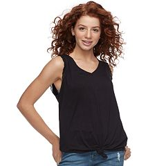 Juniors' Candie's® Knot Front Lace-Trim Tank