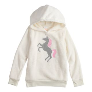 Girls 4-12 Jumping Beans® Embroidered Unicorn Plush Hoodie