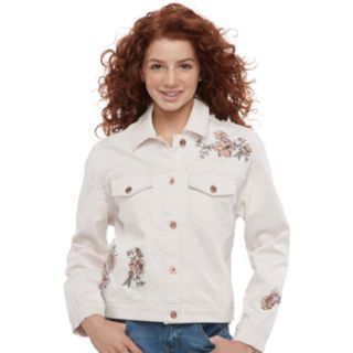 Juniors' Candie's® Floral Embroidered Denim Trucker Jacket
