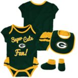 Baby Girl Green Bay Packers Mini Trifecta Bodysuit, Bib & Booties Set