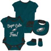 Baby Girl Philadelphia Eagles Mini Trifecta Bodysuit, Bib & Booties Set