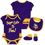 Baby Girl Minnesota Vikings Mini Trifecta Bodysuit, Bib & Booties Set