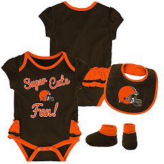 Baby Girl Cleveland Browns Mini Trifecta Bodysuit, Bib & Booties Set