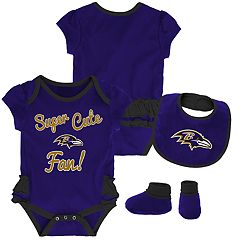 Baby Girl Baltimore Ravens Mini Trifecta Bodysuit, Bib & Booties Set