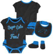 Baby Girl Carolina Panthers Mini Trifecta Bodysuit, Bib & Booties Set