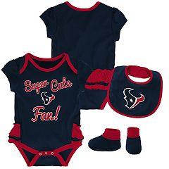 Baby Girl Houston Texans Mini Trifecta Bodysuit, Bib & Booties Set