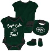 Baby Girl New York Jets Mini Trifecta Bodysuit, Bib & Booties Set