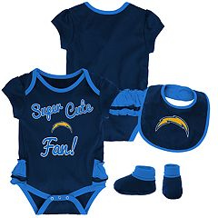 Baby Girl Los Angeles Chargers Mini Trifecta Bodysuit, Bib & Booties Set