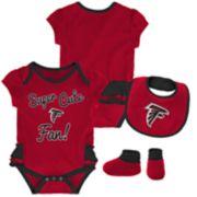 Baby Girl Atlanta Falcons Mini Trifecta Bodysuit, Bib & Booties Set