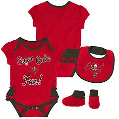 Baby Girl Tampa Bay Buccaneers Mini Trifecta Bodysuit, Bib & Booties Set