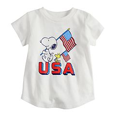 Baby Girl Jumping Beans® Snoopy & Woodstock 'USA' Americana Tee