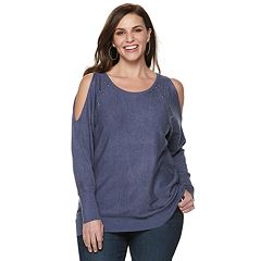 Plus Size Jennifer Lopez Studded Cold-Shoulder Sweater