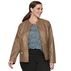 Plus Size Apt. 9® Faux-Leather Moto Jacket