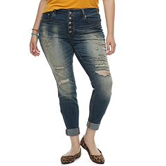 Juniors' Plus Size Indigo Rein MidRise Skinny Ankle Jeans