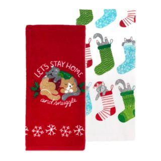 St. Nicholas Square® Cuddly Cat Kitchen Towel 2-pack