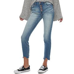 Juniors' Indigo Rein Mid-Rise Destructed Ankle Skinny Jeans