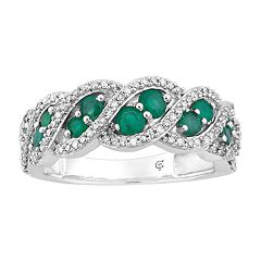 10k White Gold Emerald & 1/3 Carat T.W. Diamond Ring