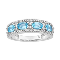 10k White Gold Swiss Blue Topaz & 1/6 Carat T.W. Diamond Ring