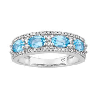 10k White Gold Swiss Blue Topaz & 1/6 Carat T.W. Diamond Ring
