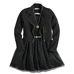 Girls 7-16 Knitworks Skater Dress & Moto Jacket Set