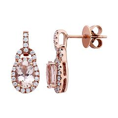 10k Rose Gold Morganite 1/3 Carat T.W. Diamond Oval Drop Earrings