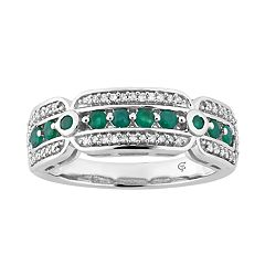 10k White Gold Emerald & 1/5 Carat T.W. Diamond Ring
